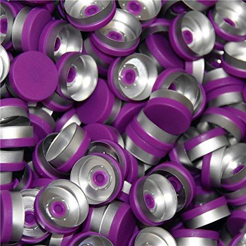 WellieSTR 200 Pieces 20mm flip off cap,All Kinds Of Colored Flip Off Caps, pharmaceutical caps,flip off tops for crimp glass vial (Purple)
