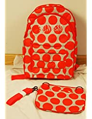 Thirty One Her Deluxe Backpack in Coral Mod Dot - 4485 - No Monogram