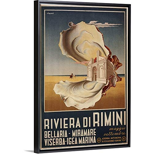 Vintage Apple Collection Floating Frame Premium Canvas with Black Frame Wall Art Print Entitled Riviera di Rimini - Vintage Advertisement 24