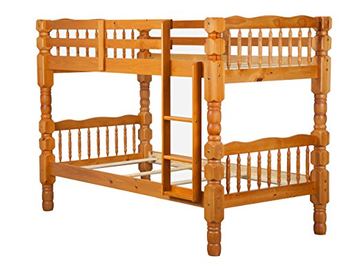 100% Solid Wood Dakota Twin Over Twin Bunk Bed by Palace Imports, Honey Pine, 4