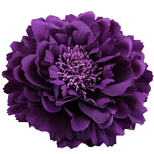 (4.75 Inch Artificial Fabric Peony Flowers Hair Clip and Pin (Purple))