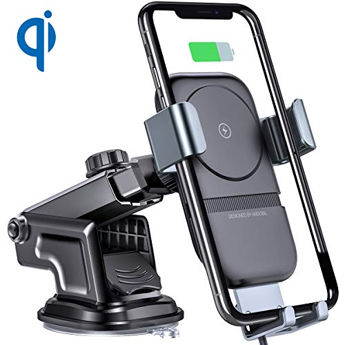 andobil Wireless Car Charger Mount, Auto-Clamping Fast Charging Phone Holder for Car Windshield Dashboard Air Vent, Compatible with iPhone Xs/Xs Max/XR/X/8,Samsung Galaxy S10/S10+/S10e/S9/S9+/S8/S8+ ()