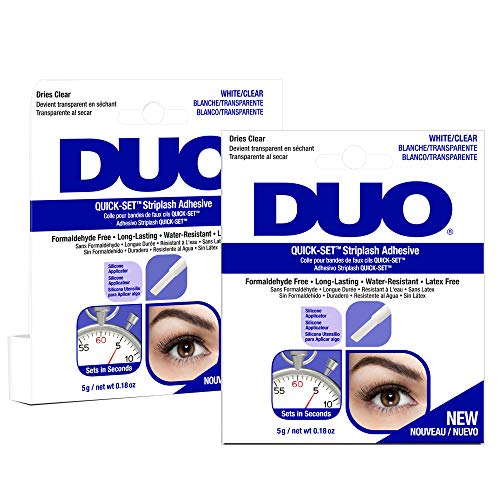 (DUO Quick-Set Clear False Strip Lash Adhesive, Dries Invisible 0.18 oz x 2 pack)