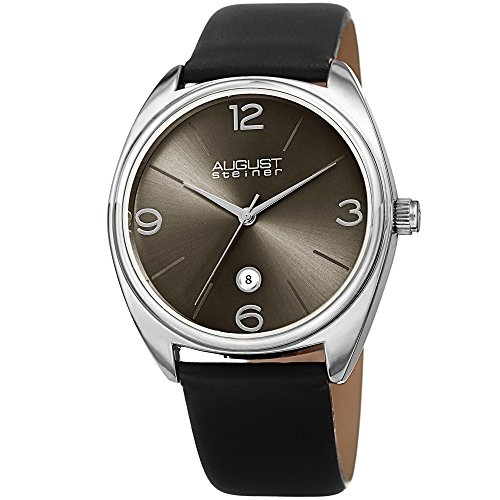 August-Steiner-Mens-Quartz-Stainless-Steel-and-Leather-Casual-Watch-ColorBlack-Model-AS8231SS