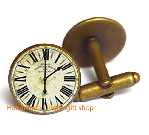 Dainty Cufflink, Simple Cufflink,Charming clock - handmade Cufflink - SALE, Clock Cufflink, Clock - Watch - Glasses Make Steampunk To How