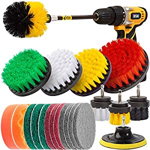 Best Epic Trends 51yKKrW6rFL._SS300_ Holikme 25Piece Drill Brush Attachments Set,Scrub Pads & Sponge, Power Scrubber Brush with Extend Long Attachment All…