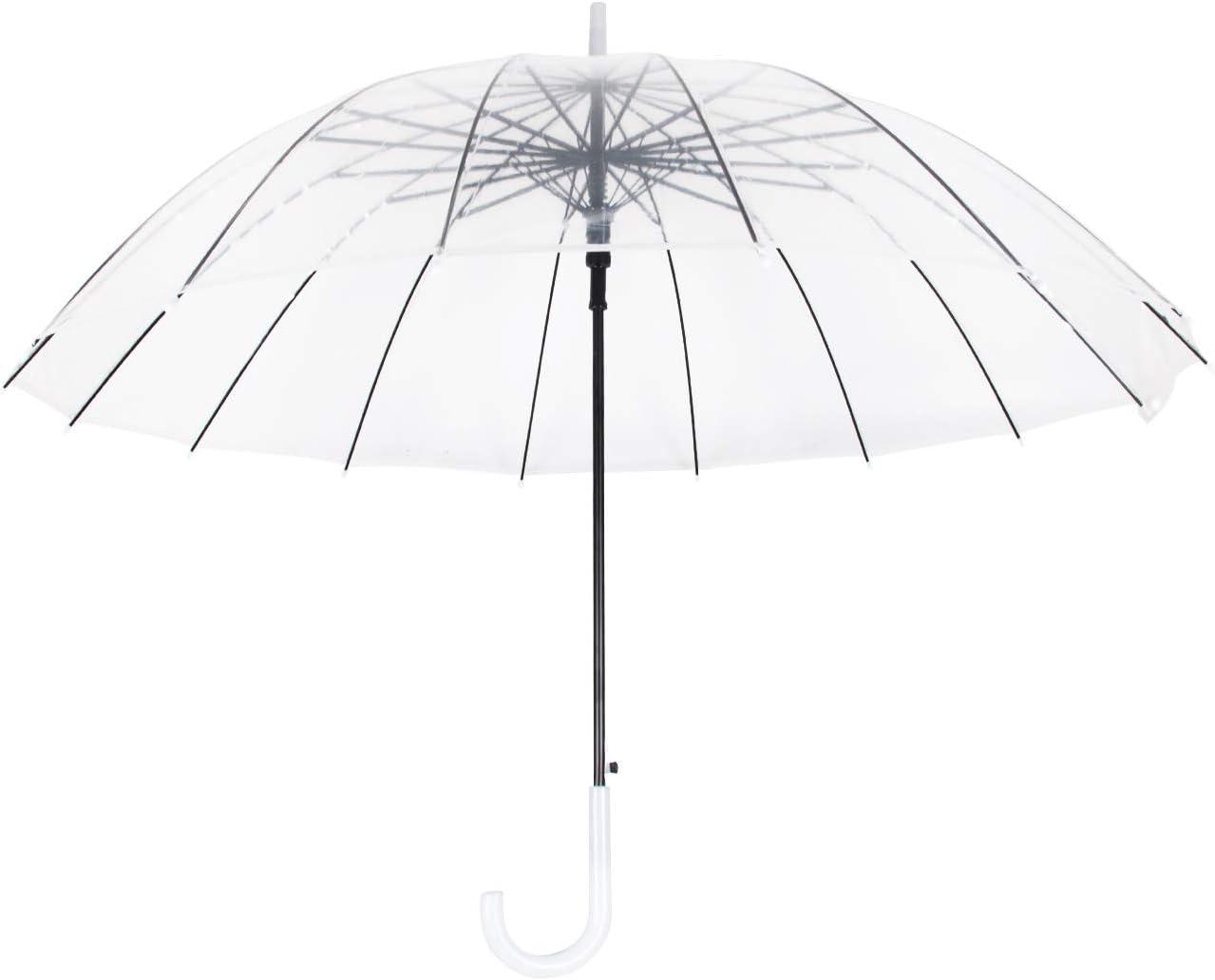 Lancoon Paraguas Cúpula Transparente Mujer, 16 Costillas De Fibra De Vidrio TamañO Grande A Prueba De Viento AutomáTico Abierto KS10White