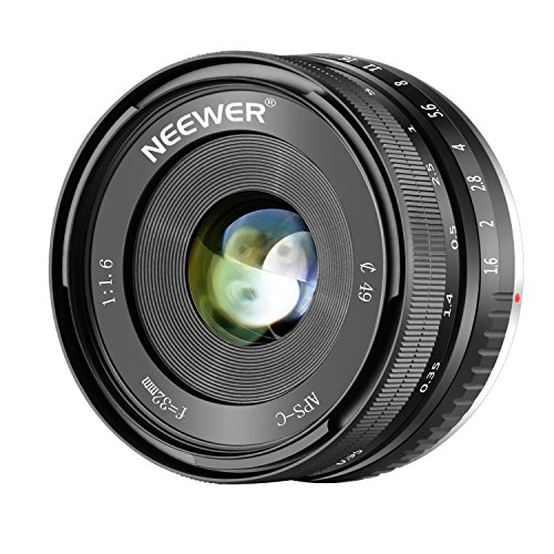 - Neewer 32mm F/1.6 Manual Focus Prime Lens Sharp High Aperture, Compatible with Sony E-Mount APS-C Mirrorless Camera Sony A7III,A9,NEX 3,3N,5,NEX 5T,NEX 5R,NEX 6, 7,A5000,A5100,A6000,A6100,A6300,A6500