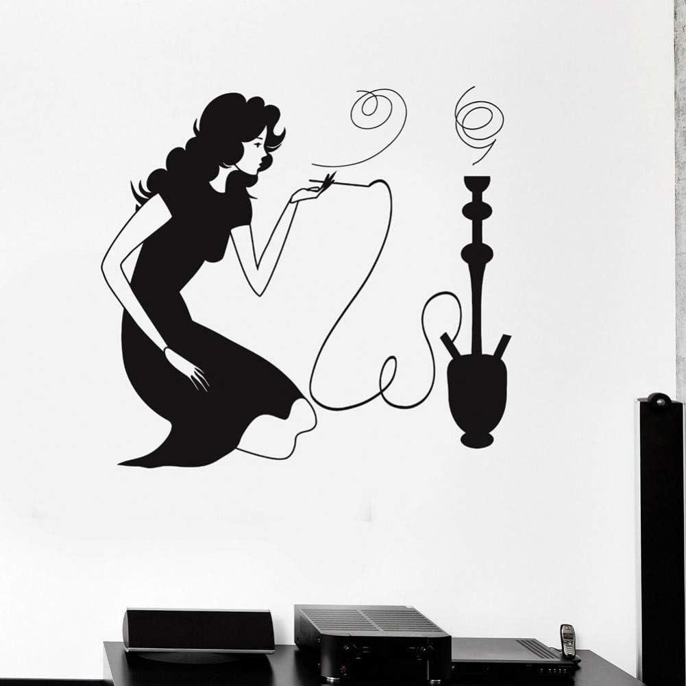 SUPWALS Pegatinas de pared Mujer Fumando Calcomanía De Pared Cachimba Shisha Sala De Humo Café Árabe Decoración Interior Puerta Ventana Vinilo Adhesivo Extraíble Fondo De Pantalla 110X118 Cm