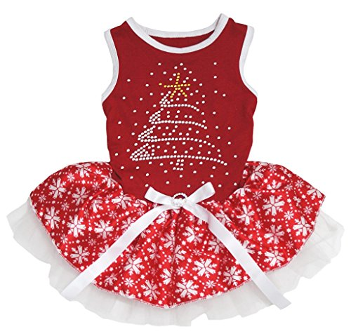 Petitebella Rhinestone Christmas Tree Cotton Shirt Tutu Puppy Dog Dress (Red/Red Snowflakes, -