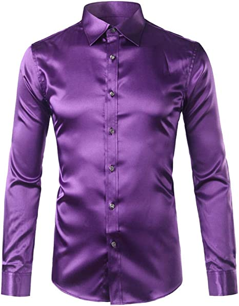 YFSLC-Studio Camisa De Manga Larga Hombre,Púrpura De Rayón De Hombres Camiseta Slim Fit Moda Vestido Esmoquin Camisetas Manga Larga Hombres Brillantes Camisa Camisa De Emulación: Amazon.es: Deportes y aire libre