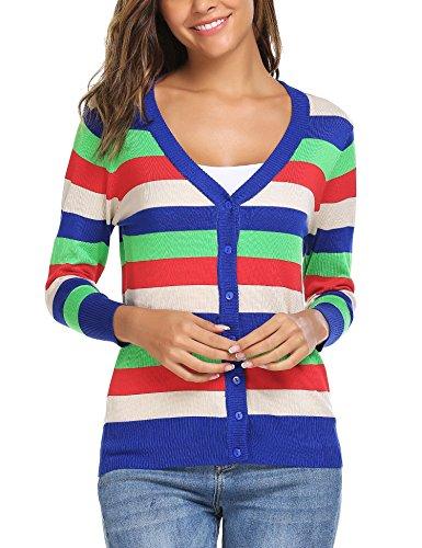 Stripe V-neck Cardigan - Zeagoo Women Basic Striped Button Down Cardigan Sweater Pattern 3 L