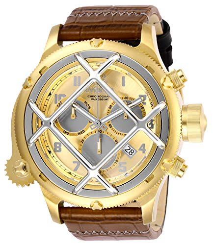 (Invicta Men's Russian Diver Stainless Steel Quartz Leather Calfskin Strap, Brown, 26 Casual Watch (Model: 26457))
