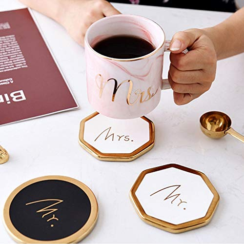 - Mr & Mrs White Gold Rimmed Ceramic Coasters (Set of 2)  Handcrafted Coasters Wedding Gift with Gold Touch Finish for Coffee Mug, Drinks, Table Countertop, Home Decor, Classy Modern Mat, Cup Pad
