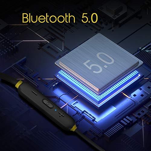 Infinity (JBL) Glide 120, in Ear Wireless Earphones with Mic, Deep Bass, Dual Equalizer, 12mm Drivers, Premium Metal Earbuds, Comfortable Flex Neckband, Bluetooth 5.0, IPX5 Sweatproof (Black&Yellow)