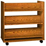 Ironwood Book Truck with 6 Shelves, Oiled Cherry