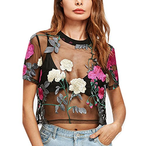 - RARITYUS Women Sexy Floral Embroidery Mesh T-Shirt Tulle Short Sleeve See Through Crop Tops