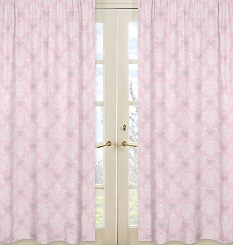 Sweet Jojo Designs 2-Piece Pink, Gray and White Shabby Chic Alexa Damask Girls Window Treatment Panels