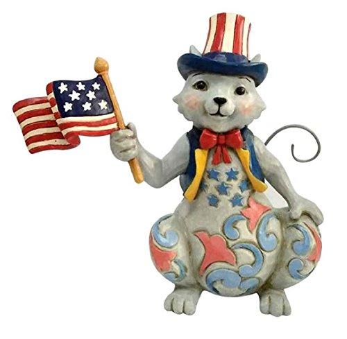 Enesco Jim Shore Heartwood Creek Pint Size Patriotic Cat w/Flag