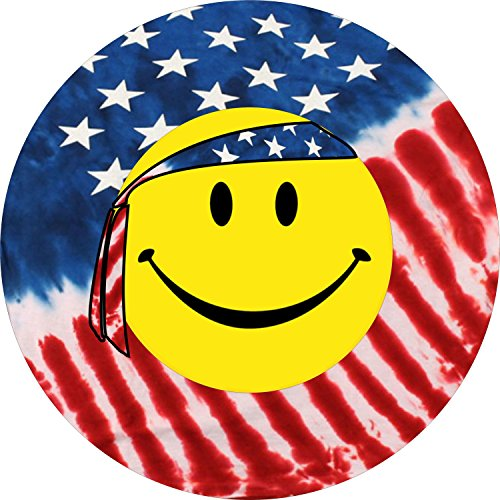 Smiley Face US Flag Spare Tire Cover for 31/x10.50x15 Jeep RV Camper VW Trailer etc(Select popular sizes from drop down menu or contact us-ALL SIZES - Us 31 Highway