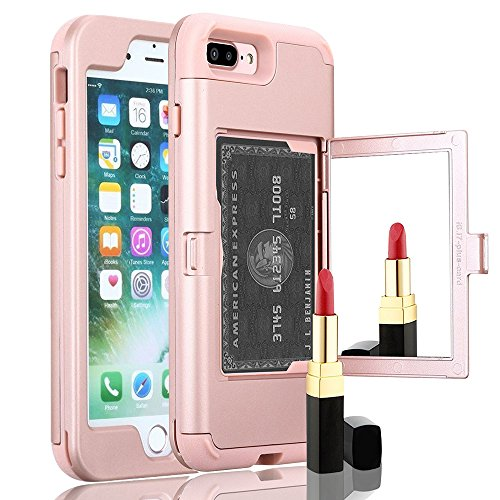 iPhone 7 Plus case,TOPBIN [Cosmetic Mirror] & [1 Card Slots] Hard PC+ Soft Silicone [3 in 1] Anti-Scratch Hybrid Full-Body Dual Protective Case for Apple iPhone 7 Plus/8 Plus (Rose Golden) ()