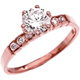 Channel-Set Diamond 10k Rose Gold Engagement Proposal Ring with 1 Carat White Topaz Solitaire Centerstone (Size 6.5)