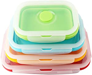 Vech Collapsible Food Storage Container, Set of 4 Silicone Leftover Meal Box for Kitchen, BPA Free Meal Prep Container Bento Lunch Boxes, Microwave Safe. Foldable Thin Bin Design Saves Your Space