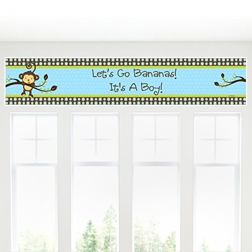 Monkey Boy - Baby Shower Decorations Party Banner by Big Dot of Happiness (Image #3)