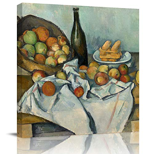 Libaoge Large Canvas Home Art Print for Wall - European Painting Paul Cézanne-The Basket of Apples Artwork Gallery Wrapped Poster Decoration for Kitchen Office Walls - Framed, 24X24In ()