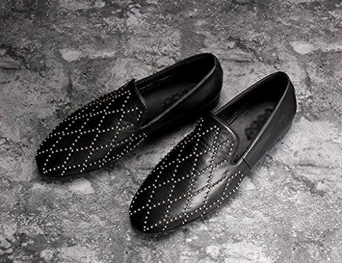 scarpe Uomo B da uomo morbida Scarpe HWF EU43 nero pelle Pelle scarpe moda in Primavera in dimensioni piselli B lettino casual UK8 Colore 4O0w5qU