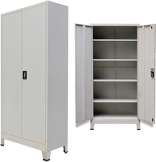 Vislone Armario Archivador de Oficina Armario de Oficina Mueble Archivador Mueble de Oficina Acero con 2 Puertas y 4 Estantes Ajustables Carga Máxima ...