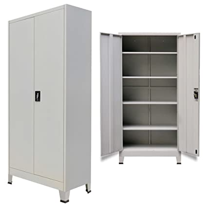 Amazon Festnight Tall Office Storage Cabinet With 2 Doors Steel