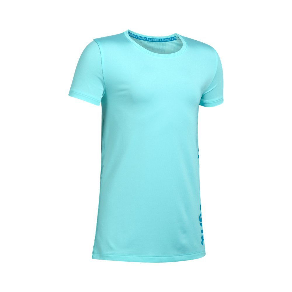 Under Armour Girls' Armour Short Sleeve,Blue Infinity /Blue Shift, Youth Small