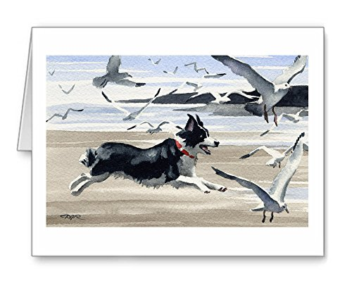 Border Collie at the Beach - Set of 10 Note Cards With Envelopes ()