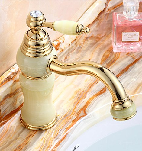 13 LHbox Basin Mixer Tap Bathroom Sink Faucet Euro-copper faucet hot and cold jade antique golden basin sink vanity table basin sinks, antique pink gold coffee mixer C