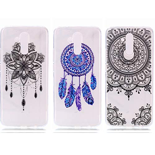 - Huawei Mate 20 Lite Case - 3 Pcs Shock-Absorption TPU Rubber Skin Bumper Case Transparent Crystal Clear Cute Colorful Print Patterns Ultra Slim Protective Cover by AIIYG DS - Mandala