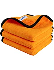 MR.SIGA Professional Premium Microfiber Towels for Household Cleaning and Car Washing, Dual-Sided Auto Detailing Towels, Gold, 15.7 x 23.6 inch, 3 Pack