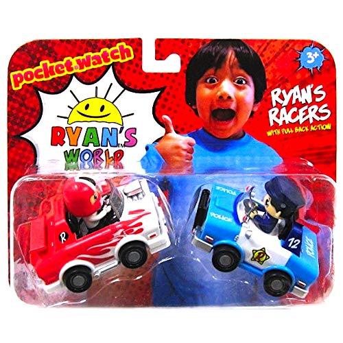- Ryan's Pull Back Racers Red Racer Ryan & Blue Police Car Ryan