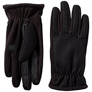 Isotoner Men's Isotoner Men's Wool-blend Gloves With Gathered Wrist, Black, LG