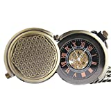 Zxcvlina Classic Smooth Creative Retro Bronze Pocket Watch Boutique Unisex Mechanical Pocket Watch with Chain for Gift Suitable for Gift Giving