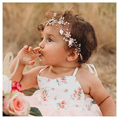 SWEETV Flower Girl Headband for Wedding, Baby's Breath Hair Piece, Rose Gold Headpiece for Birthday Party, Photography (Headband Baby Rose)