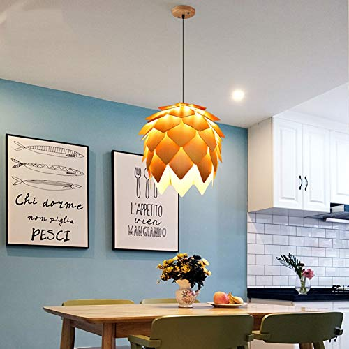 QIAOQ Chandelier Modern Log Pinecone Shape Bedroom Living Rroom Dining Room Aassembled Solid Wood Pendant Lamp (Bulb Not Included),Wood,D25×H28cm ()