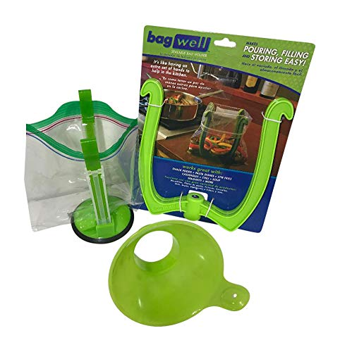 Baggie Holder Stand for Gallon and Quart Plastic Freezer Bags (Set /2) PLUS Wide Mouth Canning Supplies Funnel for Baggies