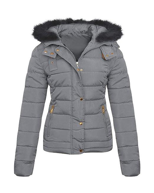 68934e1bdc4 shelikes Womens Quilted Winter Padded Coat UK 8-16  Amazon.co.uk  Clothing