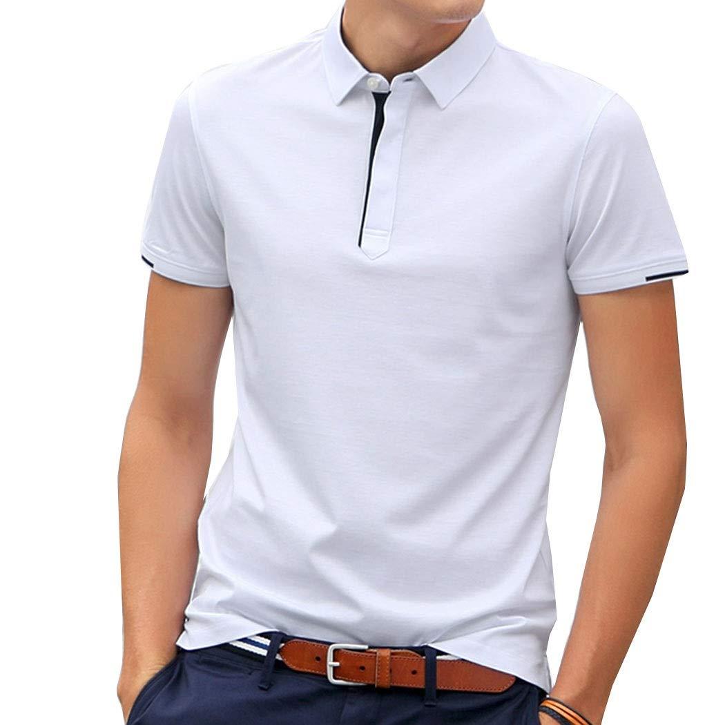 blanc XXL HUIFANGTSHIRT Tee-Shirt d'affaires à Manches Courtes for Hommes en Coton Blanc Bleu