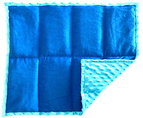 Weighted Lap Pad Weighted Lap Blanket - Calming Portable Sensory Support for Autism Anxiety Stress ADHD & Fidgets - Multiple Sizes & Prints (5 lbs & W 21'' x H 18'' - Blue x 2) by ReachTherapy Solutions )))