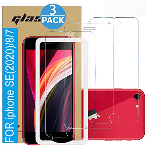 (3 Pack ) Amuoc Tempered Glass Film for Apple iPhone 8/7 Screen Protector and iPhone SE(2020) 2nd Generation Screen Protector, with (Easy Installation Tray) Anti Scratch, Bubble Free