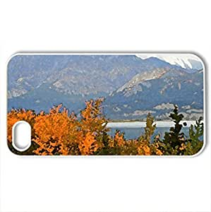 Autumn in mountain - Case Cover for iPhone 4 and 4s (Mountains Series, Watercolor style, White)
