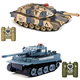 POCO DIVO Abrams vs Tiger Infrared Battle Tanks 2-Set Combat Fight Pair 2.4Ghz RC Battling Tank Remote Control Military Vehicle