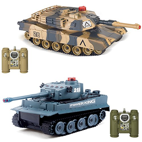 Tiger Infrared Battle Tanks 2-Set Combat Fight Pair 2.4Ghz RC Battling Tank Remote Control Military Vehicle ()